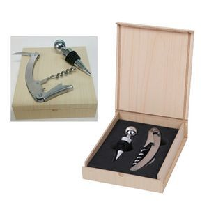 Budget Wine Opener And Stopper Set In Light Wood Colored Case