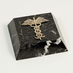 Black Marble Paperweight with Brass Medical Symbol (SANDBLASTED)