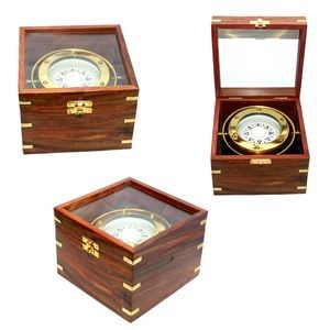 Jumbo Gimble Brass Compass In Teak Wood Box (Upgraded)