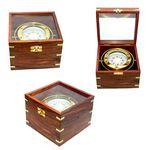 Custom Jumbo Gimble Brass Compass In Teak Wood Box (Upgraded)