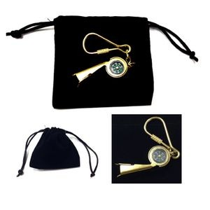 Vintage Whistle/Compass Key Ring w/ Velveteen Pouch