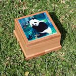 Custom Large Red Alder Wooden Pet Urn Box w/ Tile Top & Full Color Sublimation