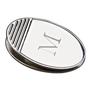 Nickel Finish Oval Magnetic Paper Clip - Screen Imprint