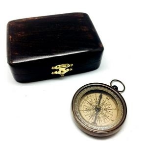Vintage Style Brass Compass in Hand Made Teak Wood Box