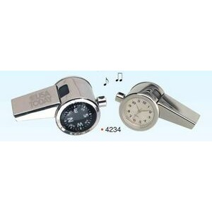 3-in-1 Chrome Whistle W/ Clock & Compass (engraved)