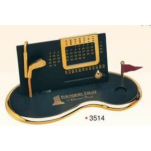 Gold Plated Perpetual Desk Calendar w/ Base (Screened) - ON SALE - LIMITED STOCK