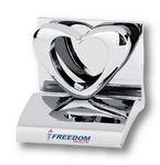 Custom Chrome Metal Heart Business Card Holder