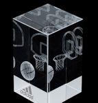 Custom 3-D Crystal Sport Block (Basketball)