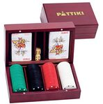 Custom Wooden Game Box Set with Playing Cards & Poker Chips