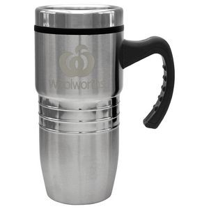 18 Oz. Steel City Stainless Mug w/ Polished Rings - Laser Etched