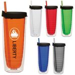 Custom 20 Oz. Fun Cup Collection w/Color Straw & Black Lid