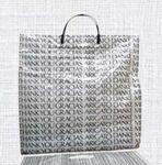 Custom White Plastic 2.5 Mil. Shopping Bag W/ Rigid Handle 8