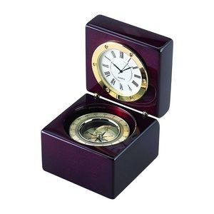 Square Wood Box With Clock & Compass In Piano Finish Square Wood Box With Clock & Compass