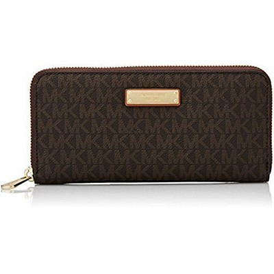 Michael Kors Jet Set Signature ZA Continental Wristlet - Brown