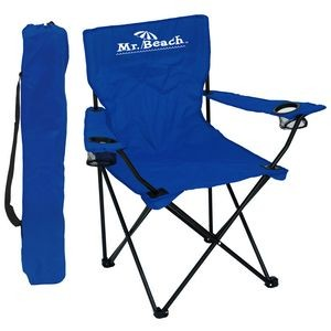 Folding Chair w/Arm Rests, 2 Cup Holders and Carry Bag
