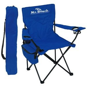 Folding Chair w/Wine Bottle & 6 Pack Chair/Carry Cooler, 2 Cup Holders & Carry Bag