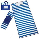 Custom Deluxe Blue & White Striped Fold Up Beach Mat w/Full Color Digital Imprint