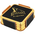 Custom Leatherette Silver/Gold Edge Square 4 Coaster Set - Black