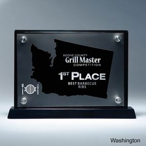 Frosted Lucite WA State Cutout on Risers Award