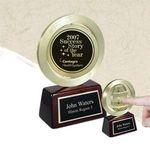 Custom Spinning Gold Medal Award on Rosewood Piano Wood Base