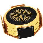 Custom Leatherette Silver/Gold Edge Round 4 Coaster Set - Black
