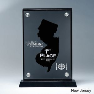 Frosted Lucite NJ State Cutout on Risers Award