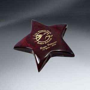 Rosewood Piano Wood Star Paperweight Award