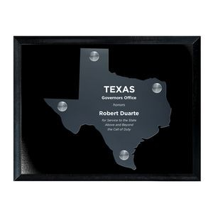 Frosted Acrylic TX State Cutout on Black Plaque
