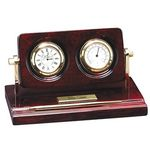 Custom Rosewood Piano Wood Desk Clock w/ Thermometer & Pen