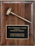 Custom Genuine Walnut Plaque w/ Bronzed Solid Metal Gavel, Key or Shovel & Lasered Plate