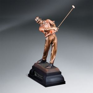Antique Bronze Finish Swinging Male Golfer - Large with Black Lasered Plate
