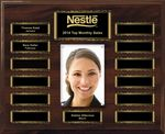 Custom Walnut Finish 13-Plt Scroll Border Photo Plaque with Easy Perpetual Plate Release Program
