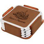 Custom Leatherette Silver Edge Square 4-Coaster Set - Dark Brown