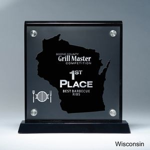 Frosted Lucite WI State Cutout on Risers Award