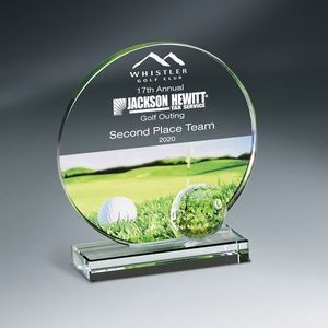 Golf Imprint Glass Circle on Clear Base - Large
