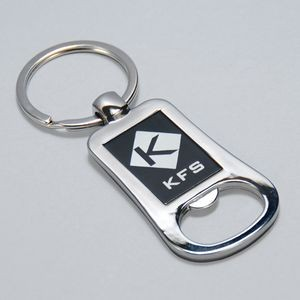 Silver and Black Lasered Bottle Opener Keychain