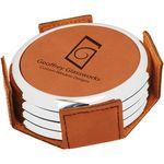 Custom Leatherette Silver Edge Round 4-Coaster Set - Rawhide