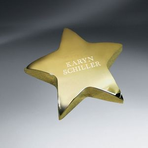 Gold Tone Star Paperweight (FREE Setup - Text only)