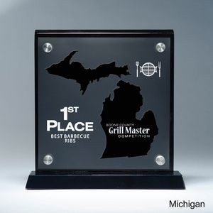 Frosted Lucite MI State Cutout on Risers Award