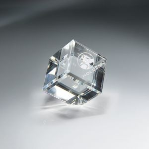 Optic Clear Crystal Cube - Medium