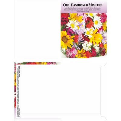 Mailable Series Old Fashion Cut Flower Mix Seeds- Digital Print- Front & Back Imprint