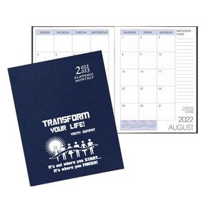 Academic Saddle Stitch Monthly Desk Planner w/ Leatherette Cover