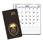 Custom Large Print Monthly Pocket Planner w/ Leatherette Cover