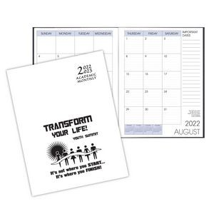 Academic Saddle Stitched Monthly Desk Planner w/ White Economy Cover