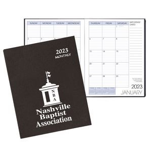 Monthly Desk Saddle Stitched Appointment Calendar/Planner w/ Leatherette Cover