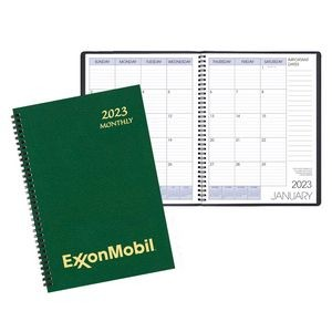 Monthly Desk Wire Bound Appointment Planner w/ Leatherette Cover