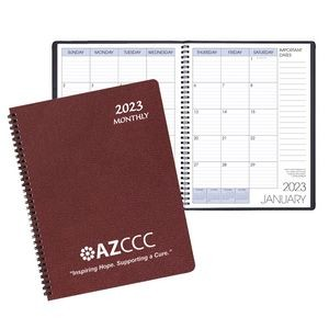 Monthly Desk Wire Bound Appointment Calendar/Planner w/ Leatherette Cover