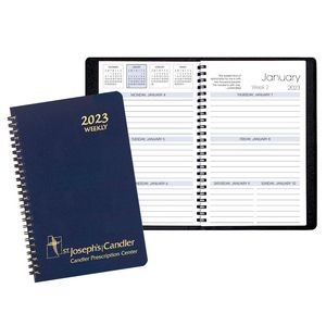 Weekly Desk Appointment Planner w/ Leatherette Cover