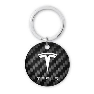 "1 1/2"" Pure Carbon Fiber Key Tag - Round"