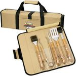 Custom 5 Pc BBQ Set (Bamboo) in Roll-Up Case